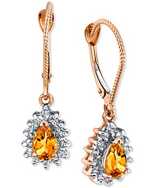 Citrine (3/4 ct. t.w.) & Diamond (1/4 ct. t.w.) Teardrop Drop Earrings in 14k Rose Gold