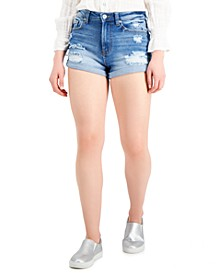 Juniors' High-Rise Roll-Cuff Jean Shorts