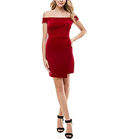Juniors' Velvet Off-The-Shoulder Bodycon Dress