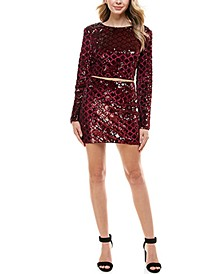 Juniors' Sequin-Pattern Top & Skirt