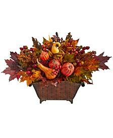 Pumpkin, Maple Leaf and Berries Artificial Arrangement in Metal Vase