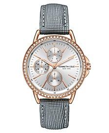 Women's Diamond Dial Gray Genuine Leather Strap Watch 35mm