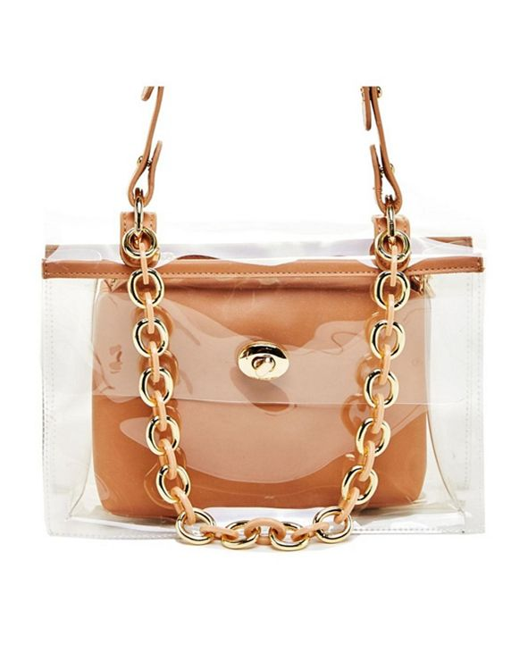 LIKE DREAMS Clear Chain Embellished Shoulder Bag