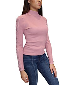 Juniors' Mesh-Trim Mock-Neck Sweater