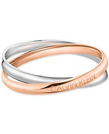 Interlocking Logo Bangle Bracelet in Stainless Steel & Rose Gold-Tone PVD