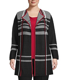Plus Size Open-Front Plaid Cardigan
