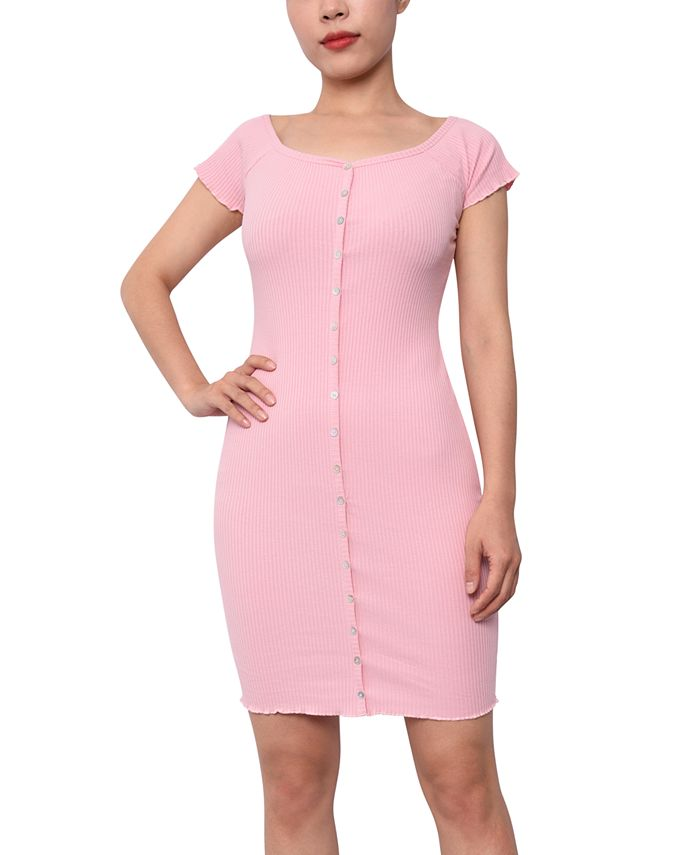 Planet Gold - Juniors' Off-The-Shoulder Bodycon Dress