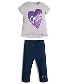 Baby Girls Short Sleeve T-shirt & Knit Denim Jegging Set