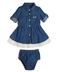 Baby Girls Roll Long Sleeve Stretch Denim Dress