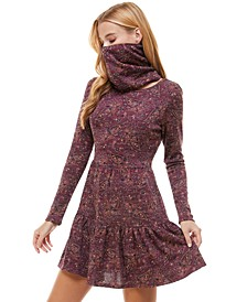 Juniors' Paisley Tiered Dress & Face Mask Scarf
