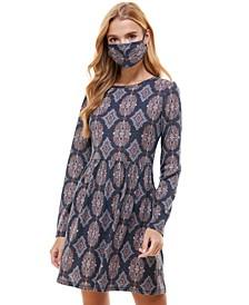 Juniors' Printed Metallic Dress & Face Mask