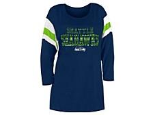 Seattle Seahawks Women's Sleeve Stripe Three Quarter Raglan T-Shirt