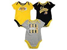 Baby 3-Pk. Los Angeles Lakers Champion Cotton Bodysuits