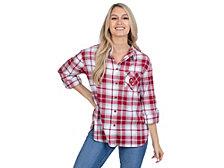 UG Apparel Oklahoma Sooners Women's Flannel Boyfriend Plaid Button Up Shirt