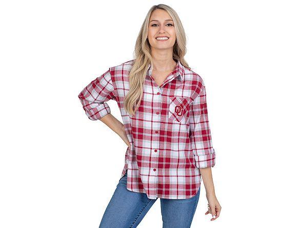 Lids UG Apparel Oklahoma Sooners Women's Flannel Boyfriend Plaid Button Up Shirt