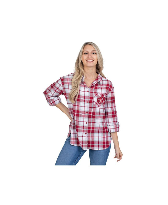 Lids - Oklahoma Sooners Women's Flannel Boyfriend Plaid Button Up Shirt