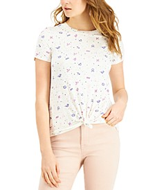 Juniors' Zodiac Printed Knot-Front T-Shirt