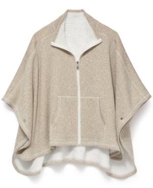 Calvin Klein Full Zip Poncho In Heather Latte