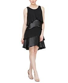 Chiffon & Satin Tiered Dress
