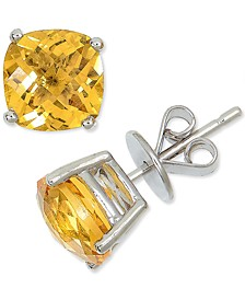 Citrine Cushion Stud Earrings (3-3/4 ct. t.w.) in Sterling Silver