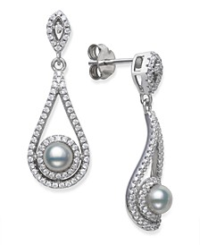 Cultured Freshwater Pearl 5-5.5mm and Cubic Zirconia Drop Earrings in Sterling Silver
