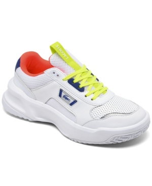 Lacoste WOMEN'S ACE LIFT COLORBLOCK LEATHER CASUAL SNEAKERS FROM FINISH LINE