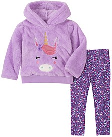 Little Girl 2-Piece Hooded Fleece Top with Dot Print Legging Set