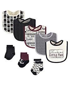 Boys and Girls Cotton Bib and Sock Set