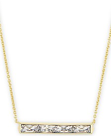 "Vintage Gold-Tone Baguette-Cut Crystal Pendant Necklace, 16"" + 2"" extender"
