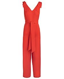 INC Tie-Waist Crepe Jumpsuit, Created for Macy's
