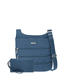 Quilted Zipper Crossbody with RFID Wristlet