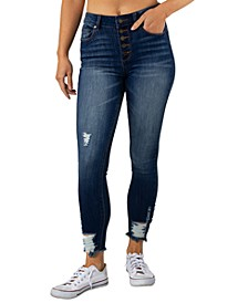 Juniors' Ripped Curvy Button-Fly Skinny Jeans