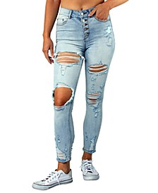 Juniors' High Rise Curvy Ripped Button-Fly Skinny Jeans