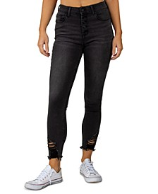 Juniors' Ripped High Rise Button-Fly Skinny Jeans