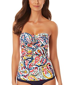 Watercolor Paisley Twist-Front Bandeau Tankini Top