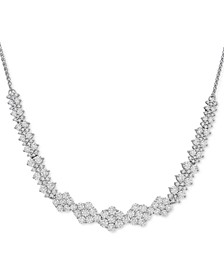 "Diamond Graduated Cluster Statement Necklace  (2 ct. t.w.) in 14k White Gold or 14k Yellow Gold, 17"" + 2"" extender"