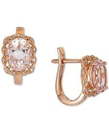 Morganite (3 ct. t.w.) & Diamond (1/20 ct. t.w.) Leverback Earrings in 14k Rose Gold