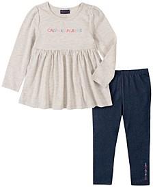 Little Girl Knit Tunic with Faux Knit Denim Legging, 2 Piece Set