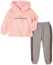 Little Girl Hooded Fleece Top with Fleece Pant, 2 Piece Set