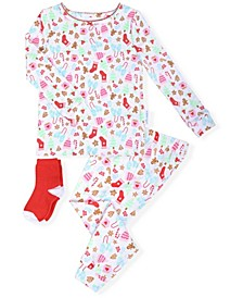 Toddler Girls 2-Piece Holiday Pajama Sock Set