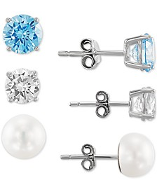 3-Pc. Set Cultured Freshwater Pearl (7-1/2mm), White Topaz and Cubic Zirconia Stud Earrings in Sterling Silver, Created for Macy's