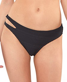 Ribbed Cut-Out Bikini Bottoms