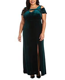 Plus Size Long Stretch Velvet Cold-Shoulder Dress