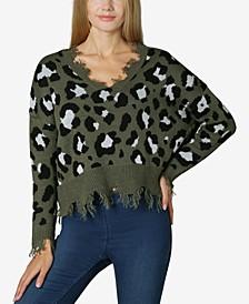 Juniors' Destructed Animal-Print Sweater