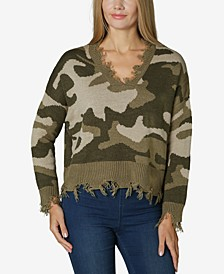 Juniors' Destructed Camo Sweater