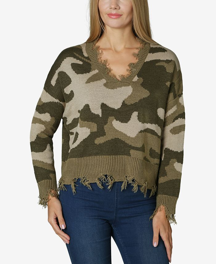 Polly & Esther - Juniors' Destructed Camo Sweater