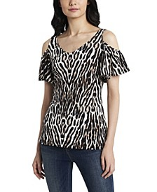 Women's Cold Shoulder Animal Print Mix Media Top