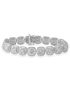 Diamond Halo Cluster Link Tennis Bracelet (7 ct. t.w.) in 10k White Gold