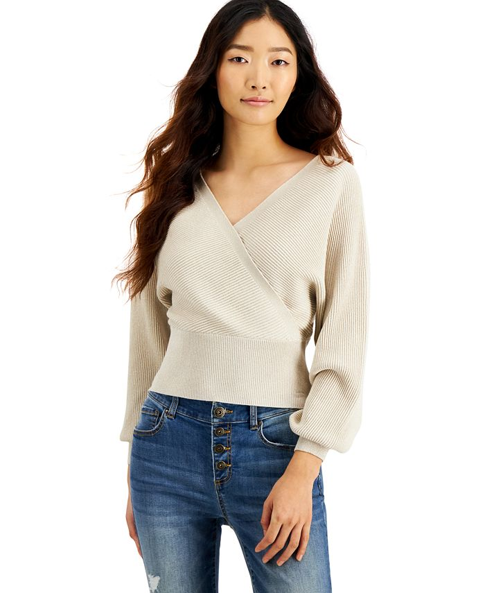 INC International Concepts - Metallic Surplice Sweater