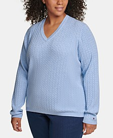 Plus Size Cotton Cable-Knit Sweater